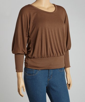 Brown Long-Sleeve Dolman Top - Plus