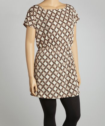 Brown Circle & Square Sleeveless Tunic - Plus