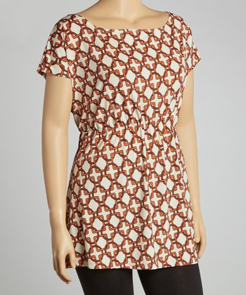 Brown & Orange Circle & Square Sleeveless Tunic - Plus