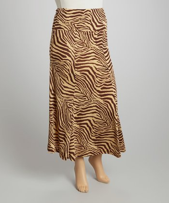 Brown & Tan Zebra Maxi Skirt - Plus