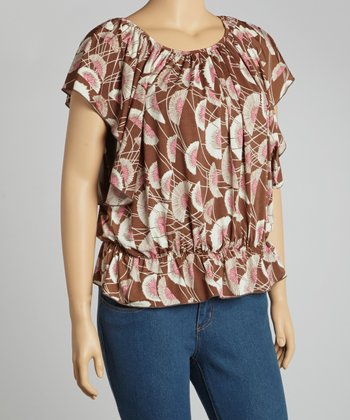Pink & Brown Floral Dolman Top - Plus