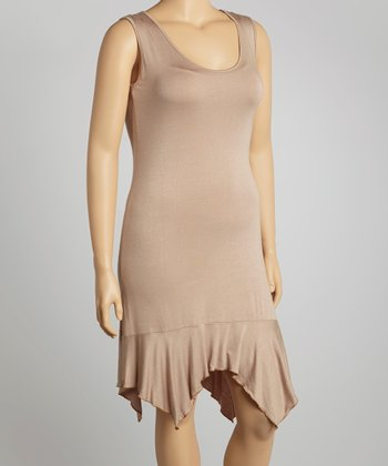 Light Brown Sleeveless Tunic - Plus