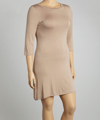 Light Brown Three-Quarter Sleeve Tunic- Plus