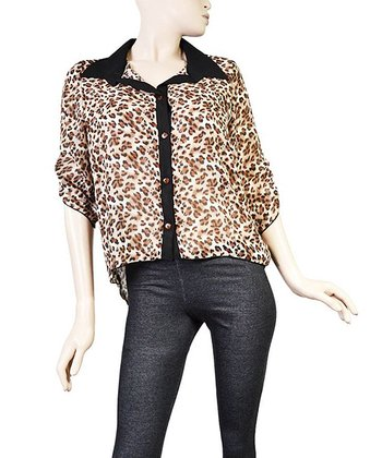 Brown & Black Leopard Button-Up Top - Plus