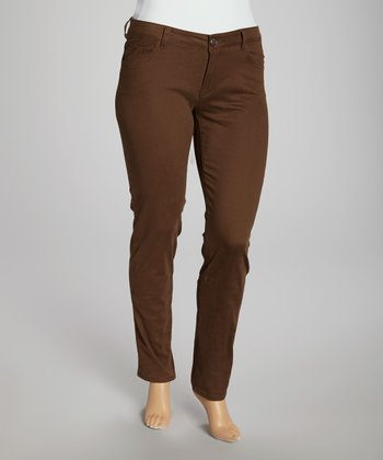 Brown Straight Leg Pants - Plus