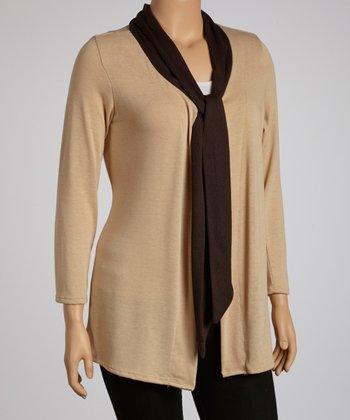 Beige & Brown Tie Neck Open Cardigan - Plus