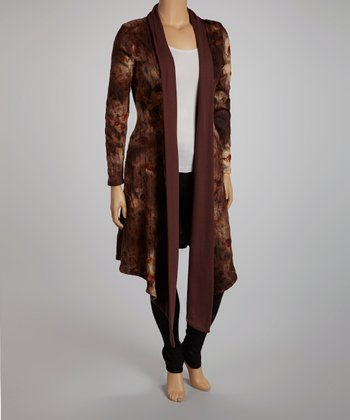 Brown Roses Tie Neck Open Cardigan - Plus