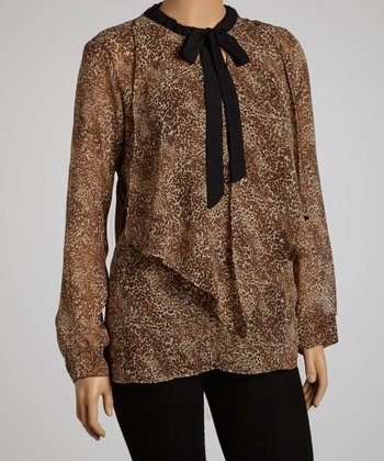 Brown Leopard Tie-Neck Long-Sleeve Top – Plus