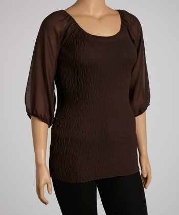 Brown Peasant Top - Plus