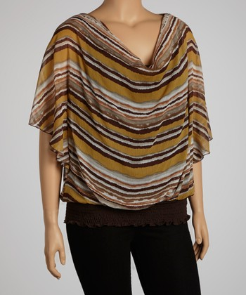 Brown Stripe Dolman Top - Plus
