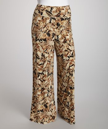Brown Floral Palazzo Pants - Plus