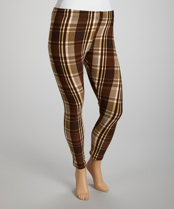 Brown & Mustard Plaid Leggings - Plus