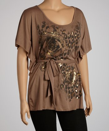 Mocha Rose & Leopard Cape-Sleeve Top - Plus