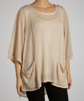 Khaki Knit Three-Quarter Sleeve Top - Plus