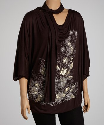 Dark Brown Floral Graphic Cape-Sleeve Top & Scarf - Plus
