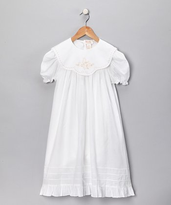 White Embroidered Dress - Toddler & Girls