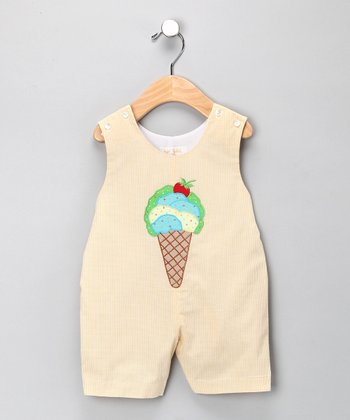 Beige Ice Cream Shortalls - Infant & Toddler