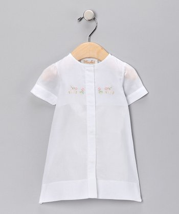 White Bears Embroidered Gown - Infant