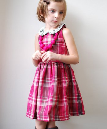 Magenta & Ecru Plaid Loraine Dress - Infant, Toddler & Girls
