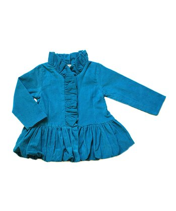 Marina Blue Ruffle Holiday Jacket - Toddler & Girls