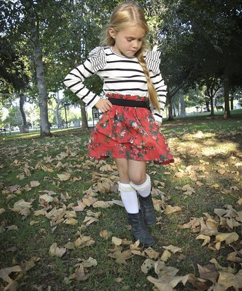 Black & White Stripe Floral Dress - Toddler & Girls