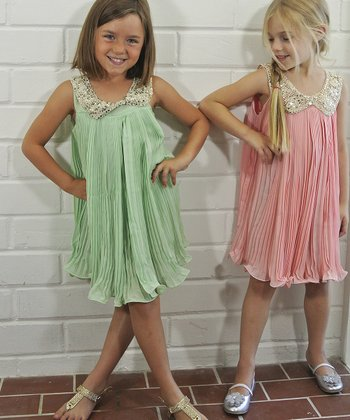 Mint Sequin Collar Party Dress - Toddler & Girls