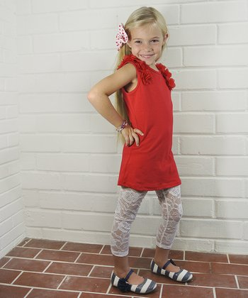Red Blossom Shift Dress - Toddler & Girls