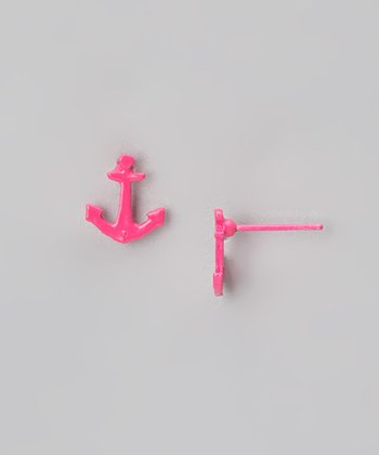 Hot Pink Anchor Earrings