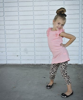 Tan & Black Leopard Leggings - Toddler & Girls