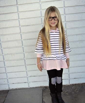 Black & White Stripe Ruffle-Sleeve Top - Toddler & Girls