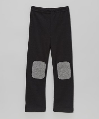 Black & Gray Knee Patch Leggings - Toddler & Girls