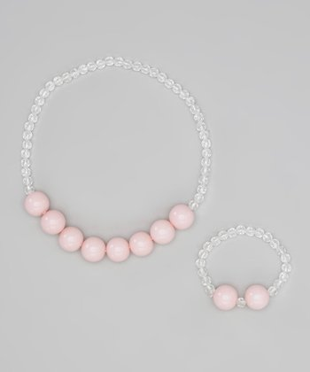 Pink Beaded Necklace & Bracelet