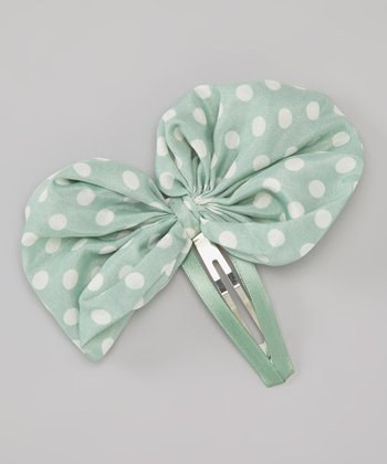 Mint & White Polka Dot Bow Clip