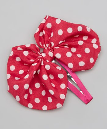 Hot Pink & White Polka Dot Bow Clip