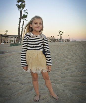Navy & Off-White Stripe Sequin Collar Dress - Toddler & Girls