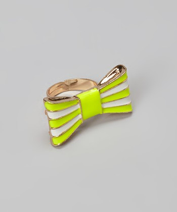 Yellow Stripe Bow Ring