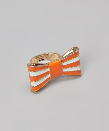 Orange Stripe Bow Ring