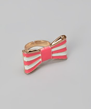 Hot Pink Stripe Bow Ring
