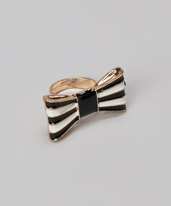 Black Stripe Bow Ring