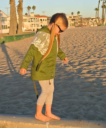 Army Green Lace-Shoulder Jacket - Toddler & Girls