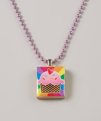 Purple & Rainbow Cupcake Scrabble Tile Necklace