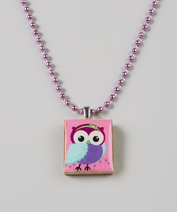 Pink & Purple Bow Owl Scrabble Tile Necklace