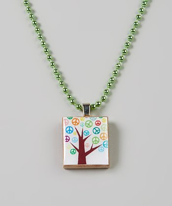 Green Peace Tree Scrabble Tile Necklace