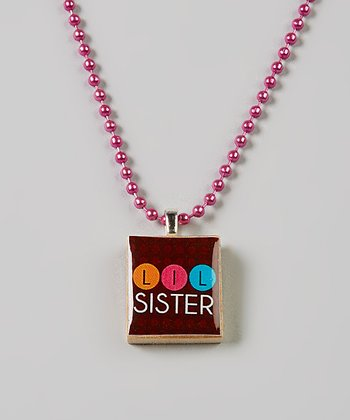 Brown 'Lil' Sis' Scrabble Tile Necklace