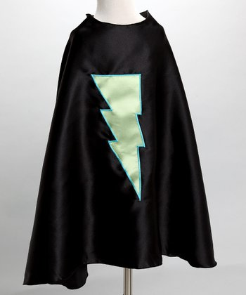 Black & Lime Green Lightning Cape