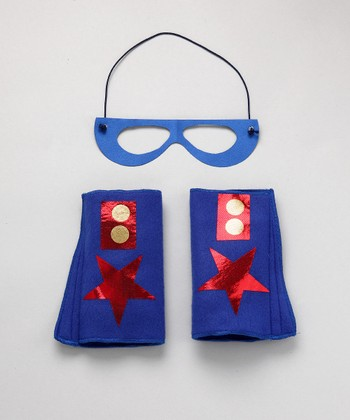 Blue & Red Hero Mask & Cuffs
