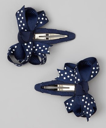 Navy & White Polka Dot Bow Snap Clip Set