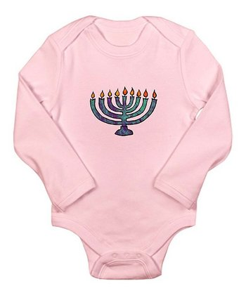 Petal Pink Menorah Long-Sleeve Bodysuit