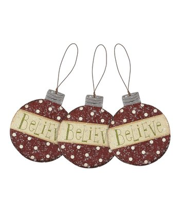 Red & Cream 'Believe' Ornament - Set of Three