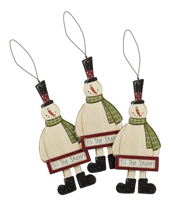 'Tis the Season' Snowman Ornament - Set of Three